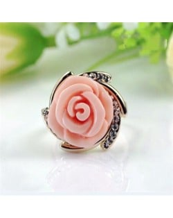 Rhinestone Embellished Graceful Rose 18k Rose Gold Plated Ring - Pink