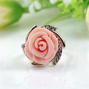 Rhinestone Embellished Graceful Rose 18k Rose Gold Plated Ring - Pink