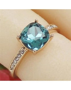 Square Aquamarine Crystal Inlaid Four Claws 18k Rose Gold Plated Ring