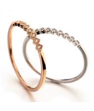 Rhombus Rhinestone Embellished Elegant Slim Style Rose Gold/ Platinum Ring