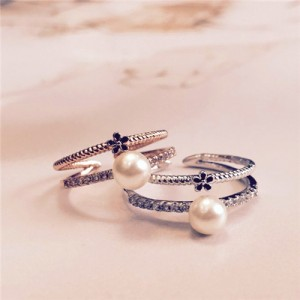 Tiny Black Flower and Pearl Decorated Dual Layers Rose Gold/ Platinum Plated Ring