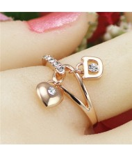 Sweet Heart And Lock Pendants Rose Gold Plated Ring