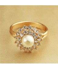 Rhinestone Surround Pearl Rose Gold Plated Ring