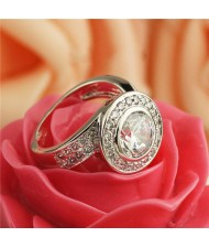 Rhinestone and Cubic Zirconia Inlaid Rould Fashion Platinum Plated Ring