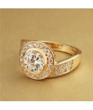 Rhinestone and Cubic Zirconia Inlaid Rould Fashion Rose Gold Plated Ring