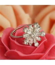 Cubic Zirconia Snow Flake Platinum Plated Ring