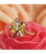 Cubic Zirconia Colorful Snow Flake Rose Gold Plated Ring