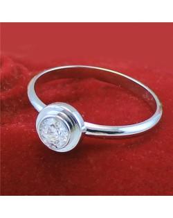 Cubic Zirconia Embellished Round Fashion 18k Platinum Plated Ring