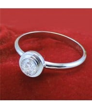 Cubic Zirconia Embellished Round Fashion 18k Platinum Plated Ring