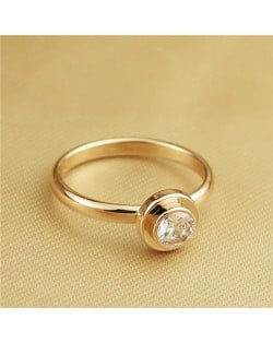 Cubic Zirconia Embellished Round Fashion 18k Rose Gold Plated Ring