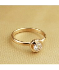 Cubic Zirconia Embellished Round Fashion 18k Rose Gold Plated Ring