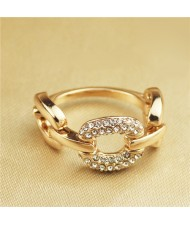 Rhinestone Inlaid Bold Chain Style Rose Gold Plated Ring