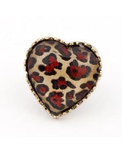 Vintage Design Red Leopard Peach Heart Ring