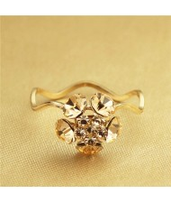 Fair Maiden Fashion Crystal Flower Rose Gold Plated Ring