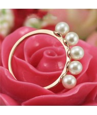 Pearls Inlaid 18K Rose Gold Plated Ring