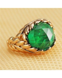 Green Crystal Inlaid Leaves Covered Design Rose Gold Plated Ring