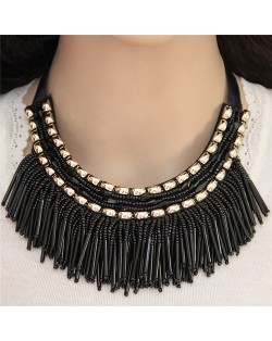High Fashion Mini Beads Tassel and Alloy Studs Combo Design Statement Necklace - Black