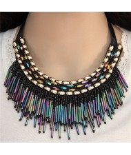 High Fashion Mini Beads Tassel and Alloy Studs Combo Design Statement Necklace - Shining Colorful