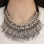 High Fashion Mini Beads Tassel and Alloy Studs Combo Design Statement Necklace - Silver