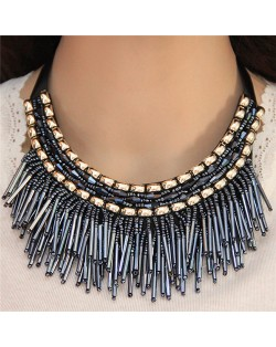 High Fashion Mini Beads Tassel and Alloy Studs Combo Design Statement Necklace - Blue