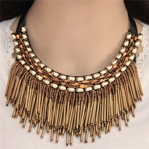 High Fashion Mini Beads Tassel and Alloy Studs Combo Design Statement Necklace - Golden