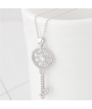 Korean Fashion Cubic Zirconia Embellished Sweet Delicate Hollow Key Pendant Long Necklace - Silver