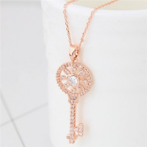 Korean Fashion Cubic Zirconia Embellished Sweet Delicate Hollow Key Pendant Long Necklace - Golden