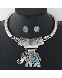 Resin Gems Embellished Folk Style Elephant Pendant Silver Chunky Statement Necklace