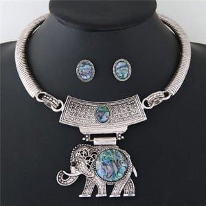 Resin Gems Embellished Folk Style Elephant Pendant Silver Chunky Statement Necklace