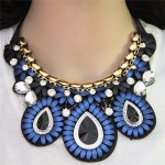 Glass Gems Embellished Bohemian Fashion Triple Flowers Design Chunky Ribbon Necklace - Blue