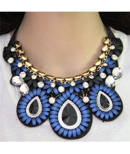 Glass Gems Embellished Bohemian Fashion Triple Flowers Design Chunky Ribbon Necklace - Blue
