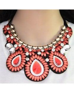 Glass Gems Embellished Bohemian Fashion Triple Flowers Design Chunky Ribbon Necklace - Pink