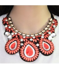 Glass Gems Embellished Bohemian Fashion Triple Flowers Design Chunky Ribbon Necklace - Pink