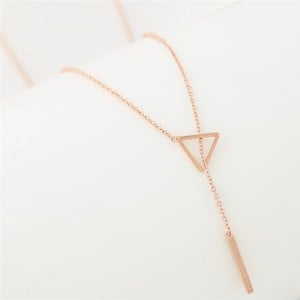 Sweet Fashion Triangle and Wish Stick Combo Design Long Chain Necklace - Golden