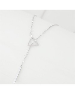 Sweet Fashion Triangle and Wish Stick Combo Design Long Chain Necklace - Silver