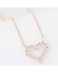 Cubic Zirconia Embellished Adorable Heart Pendant Korean Fashion Long Necklace - Golden