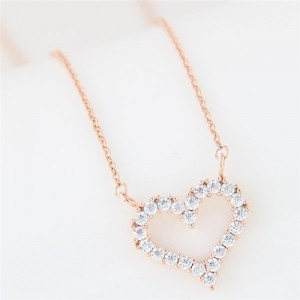 Cubic Zirconia Embellished Adorable Heart Pendant Korean Fashion Long Necklace - Golden