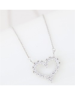 Cubic Zirconia Embellished Adorable Heart Pendant Korean Fashion Long Necklace - Silver