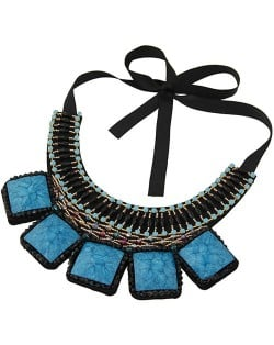 Square Turquoise and Crystal Beads Embellished Bohemian Fashion Chunky Statement Necklace - Blue