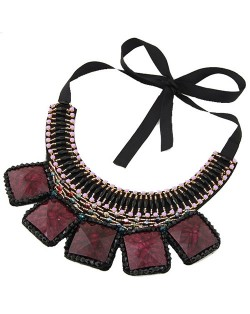 Square Turquoise and Crystal Beads Embellished Bohemian Fashion Chunky Statement Necklace - Purple