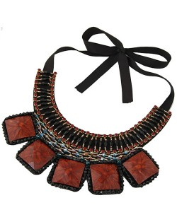Square Turquoise and Crystal Beads Embellished Bohemian Fashion Chunky Statement Necklace - Coffee