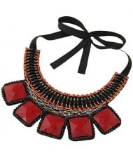Square Turquoise and Crystal Beads Embellished Bohemian Fashion Chunky Statement Necklace - Red