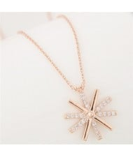 Cubic Zirconia Inlaid Delicate Snowflake Pendant Long Chain Fashion Necklace - Golden