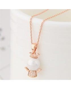 Adorable Crown Angel Pendant Long Chain Fashion Necklace - Golden