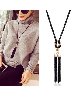 Black Chain Tassel Simplistic Long Style Sweater Chain/ Necklace