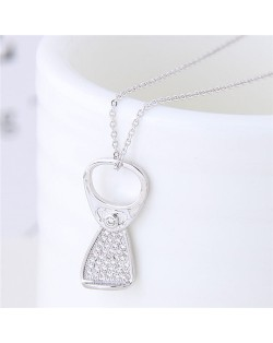 Cubic Zirconia Inlaid Ring-pull Pendant Sweet Fashion Necklace - Silver
