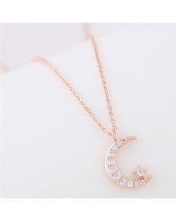 Moon and Shining Star Pendant Long Chain Fashion Necklace - Golden