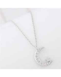 Moon and Shining Star Pendant Long Chain Fashion Necklace - Silver