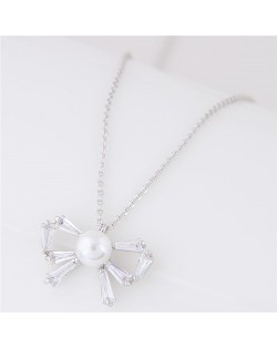 Pearl Inalid Cubic Zirconia Cute Bowknot Pendant Long Chain Fashion Necklace - Silver