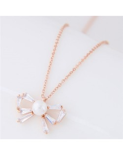 Pearl Inalid Cubic Zirconia Cute Bowknot Pendant Long Chain Fashion Necklace - Golden